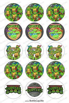 Ninja Turtles 1inch Round Bottle Cap Images 4 x 6 by 1etsyseller, $2.00