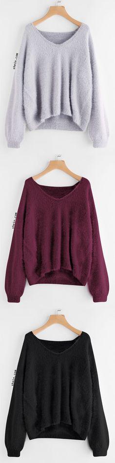 Lantern Sleeve Fluffy Sweater