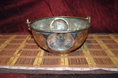 """Antique Vintage Heavy Solid Copper Bowl with Heavy Brass Handle 9 3/8""""x4"""""""