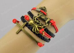 Infinity Bracelet Octopus bracelet horse bracelet  by Colorbody, $6.29