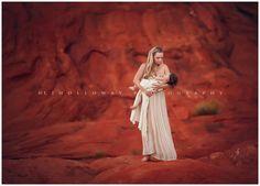 LJHolloway Photographer - Las Vegas Breastfeeding Photographer photographs a mother nursing her baby girl in the Las Vegas desert