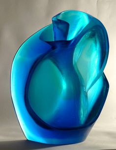 Blue Shell, 29 X 21 X 9cm, cast glass, Crispian Heath.