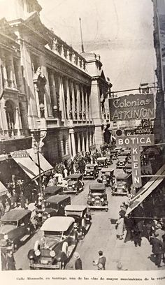 Calle Ahumada Santiago Chile. Old Pictures, Old Photos, Street View, Boat, Vintage, Memories, Santiago, Places, Smoker Cooking
