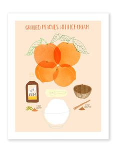 Affordable kitchen art prints: Grilled Peaches poster by illustrator Claudia Pearson