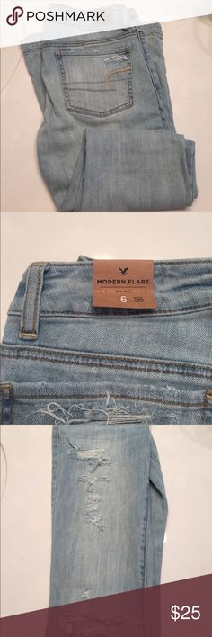 American Eagle Modern Flare Jeans // light, ripped Modern Flare. Never worn. American Eagle Outfitters Jeans Flare & Wide Leg