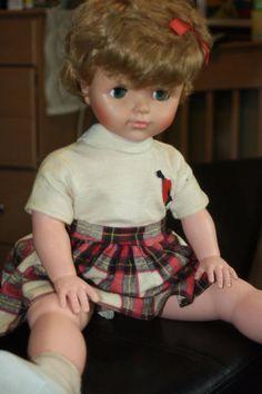 "1950's 24"" hard plastic vinyl face doll eegee 2, era clothing, fully dressed | #1877203215"