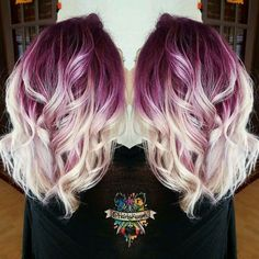 Plum purple hair color base with billowy white blonde hair! Hair Color And Cut, Cool Hair Color, Crazy Hair Colour, Color Pop, White Blonde Hair, Blonde Hair With Purple Highlights, Plum Purple Hair, White Ombre Hair, Blonde Ombre