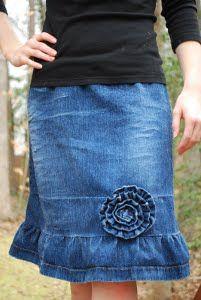 Very cute way to dress up or lengthen a denim skirt!