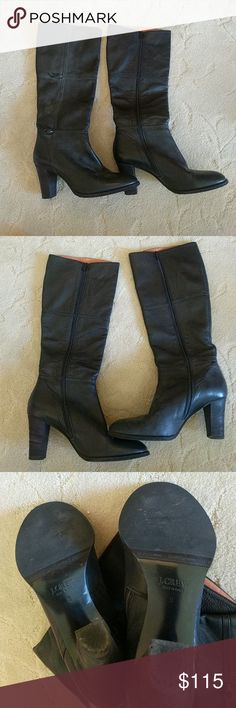 "J. Crew black leather heeled boots J. Crew black leather heeled boots. 3.25"" thick heel. Excellent condition. Full zipper on the inside which makes them easy to put on and remove. Size 9. J. Crew Shoes Heeled Boots"