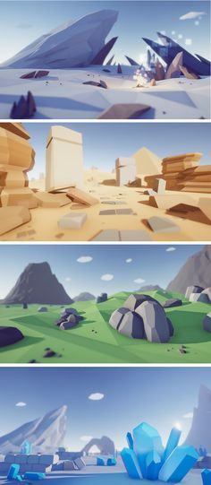 #LowPoly #Rocks Pack #3D Models Environments This package contains a huge variety of different rocks ready to use for your #game #levels. Just drag and drop prefabs to your scene and achieve beautiful results in no time. PC & mobile friendly.