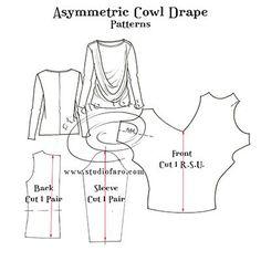 Elegant, flattering n #selfdraft. #PatternPuzzl -Asymmetric Cowl Drape http://www.studiofaro.com/well-suited/pattern-puzzle-asymmetric-cowl-drape Use any tee shirt. :)