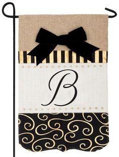 Burlap Gold and Linen Letter B Monogram Garden Flag