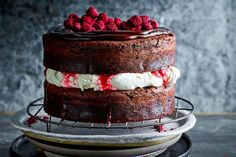 Rhubarb and raspberries bring a delightful twist to this classic cake recipe.