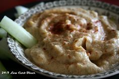Cauliflower hummus: replace tahini with almond butter and add red peppers