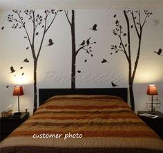 Amazon Com Custom Color Popdecals On Sale Three Big Birch Trees Nursery Stickerswall Decor
