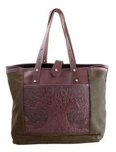 Waxed Canvas and Leather Everyday Tote   Tree of Life