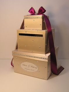 Champagne Wedding Card Box Gift Card Box Money Box Holder--Customize your color