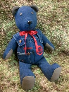 Memory Bear made from denim overalls. On Facebook Creative Crafts by Dawn