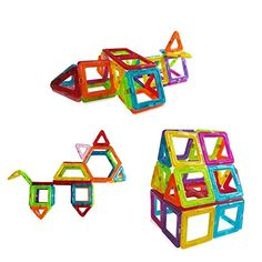 42 Pieces Mini Magnetic Building Blocks Toys Set, Educational Magnet Bricks Tiles Construction Stacking Kit For Kids   5 Different Shapes Block Set - Another building set a little more reasonable than the wood one.