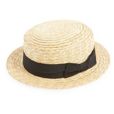 Junior GirlyStraw Boater Hat featuring polyvore, fashion, accessories, hats, natural, wide hat, bow hat, straw boater hat, band hats and boater hat