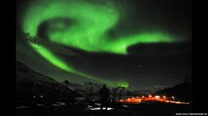 The aurora borealis, the Northern Lights, are seen near the city of Tromsoe, northern Norway. Stargazers were out in force in northern Europe after the most powerful solar storm in six years.Next image
