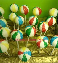 Beach ball cake pops
