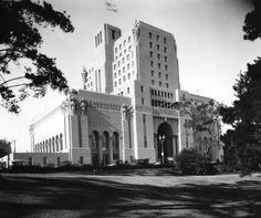 1924 - Exterior view of the Elks Club as seen from the park.   Eventually, the Elks sold the building due to shrinking attendance, and the building was transformed into a luxury hotel (Park Plaza Hotel), set perfectly then on the shores of what was once a very glamorous MacArthur Park.