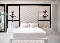 Gorgeous Bright white luxury bedroom decor with extra tall headboard, diamond tufted wall panel for bed, extended headboard bed, black and white luxury bedroom