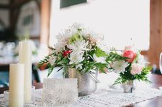 Rustic Barn Wedding Flowers - Silver Vase and Candles
