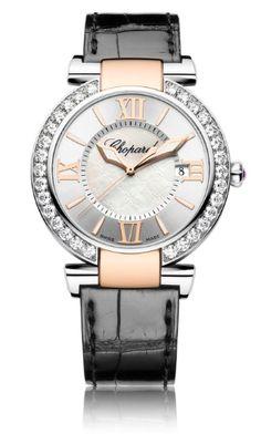 #Chopard Imperiale Watch #lenoxjewelers ... black strap two tone