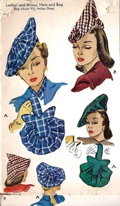 A chic array of 1940s ladies fabric hats and bags (McCall 1318). #vintage #sewing #pattern #1940s #hats vintage fashion style illustration print ad