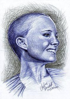 Shaved Natalie Portman Ballpoint Pen by ~AngelinaBenedetti on deviantART Biro Art, Art Drawings, Drawing Art, Natalie Portman, Ballpoint Pen, Shaving, Deviantart, Ink, Portrait