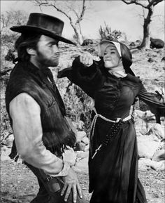 Shirley McLane punching the Word. Eastwood receiving It. Two Mules For Sistes Sarah. '70.