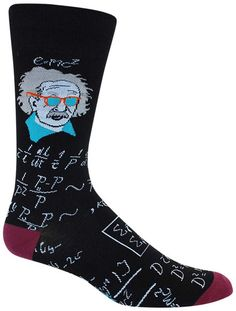 E = M.C. Cool. Black crew length socks portraying a cool shades wearing Albert Einstein and equations. Fits men's shoe size 8-12.5.