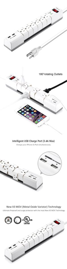 Surge Protectors Power Strips: Poweradd 6-Outlet Surge Protector Rotating Power Strip With Dual 3.4A Usb Ports, BUY IT NOW ONLY: $31.5