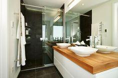 Maree and James Master Bedroom/Ensuite The Block NZ The Block Nz, Queenslander, First Home, Exterior Colors, Double Vanity, Bodies, Garden Design, Master Bedroom, Bathrooms