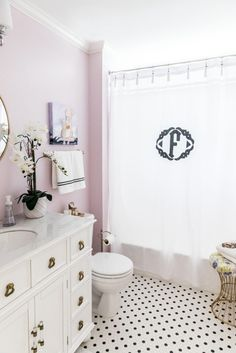 Girl's Shared Bathroom Reveal! Monogrammed shower curtain, gold faucet, lilac paint, white vanity, abstract art