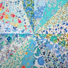 16 Liberty Tana Lawn fabric 6 inch patchwork charm squares - BLUE & AQUA