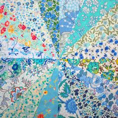 16 Liberty Tana Lawn fabric 6 inch patchwork charm squares - BLUE & AQUA