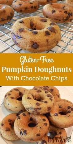 Gluten-Free Pumpkin Doughnuts Recipe with Chocolate Chips - These delicious gluten-free doughnuts are made with pumpkin puree and mini chocolate chips.