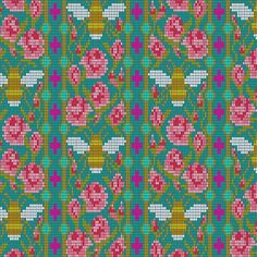 Handiwork by Alison Glass is a neat collection of unique crafting prints. Bead Work is a great fabric with bees and flowers on a peacock background. Use is as a focal print on a quilt or home decor. Novelty print for a great borders. Glass Theme, Pixel Design, Andover Fabrics, Cool Fabric, Bee Fabric, Fabric Names, Novelty Print, Quilt Top