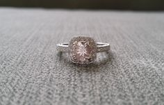 Antique Halo Morganite Diamond Blush Gemstone by PenelliBelle
