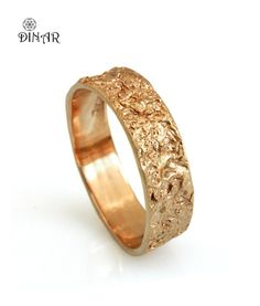 14k solid gold wedding band Rustic 18k rose gold by DINARjewelry