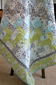 Modern Baby Boy Quilt in Michael Miller. Green, Blue, Grey, Orange, White. New Baby, Baby Shower, Crib.