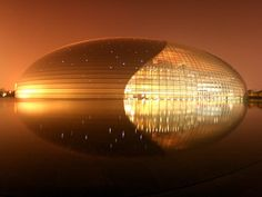 National Performing Arts Center, Beijing by Lance McMillan. 50 Photos of the Day by National Geographic vol. Beautiful Architecture, Beautiful Buildings, Art And Architecture, Biomimicry Architecture, Beautiful Places, National Geographic Photographers, National Geographic Photos, Reflection Photography, Amazing Photography