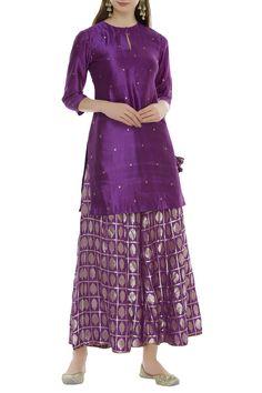 Buy Banarasi silk kurta sharara set by Pinki Sinha at Aza Fashions Silk Kurti Designs, Kurta Designs Women, Salwar Designs, Blouse Designs, Pakistani Dress Design, Pakistani Dresses, Indian Dresses, Indian Outfits, Kids Dress Wear