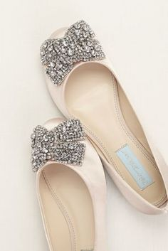 Ultra-feminine and comfortable encrusted bow flat! Blue by Betsey Johnson satin flat features crystal embellished bow detail. Available in Champagne, Ivory and Silver Metallic. Fully lined. Bridal Shoes, Wedding Shoes, Cute Shoes, Me Too Shoes, Blue By Betsey Johnson, Bow Flats, Dream Shoes, Beautiful Shoes, Ballet Flats