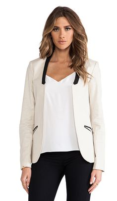 Maison Scotch Collarless Blazer in Cream. Business Attire. Office blazers for office work 2015. Look sexy, chic and professional. Try it on for a real business lady look.