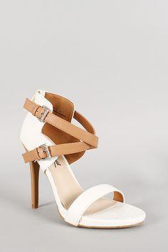 Anne Michelle Lizard Criss Cross Ankle Strap Open Toe Heel