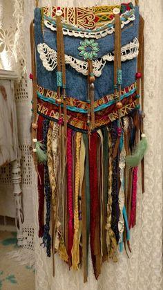 Reserved for Cathy Denim Cross Body Fringe Bag Hippie Boho Gypsy Purse tmyers #Handmade #MessengerCrossBody